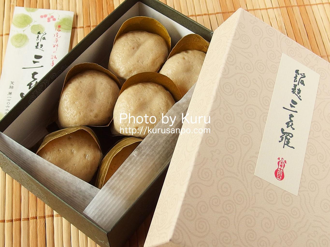 大口屋の麩饅頭『餡麩三喜羅(あんぷさんきら)』上品なこし餡と生麩の食感が絶妙♪