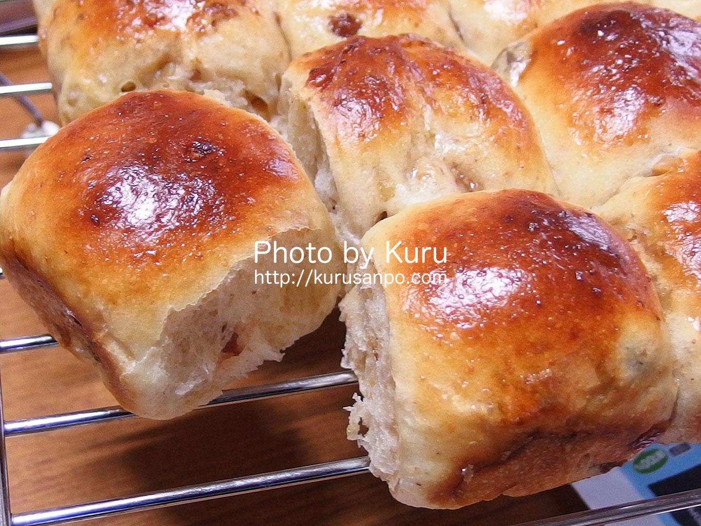 くるみとレーズンのちぎりパンを作ったよ♪