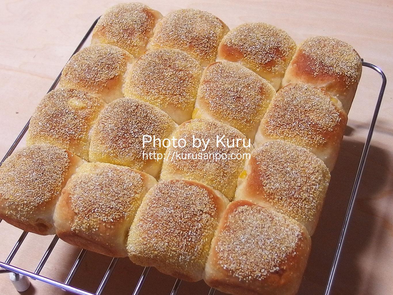 『パン型付き!日本一簡単に家で焼けるパンレシピ』のコーンパンのちょっとしたアレンジ♪